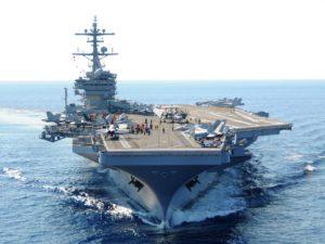לפניכם נושאת המטוסים ג'ורג' בוש כשעליה צי מטוסים לקרבות אוויר, לסיוע צמוד לכוחות הקרקע,למטרות מודיעין וסיור,לוחמה נגד צוללות ומטוסי התראה מקודמת:
