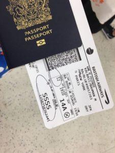 כרטיס עלייה למטוס עם הסימון הבעייתי