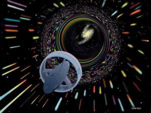 חללית נוסעת דרך חור תולעת. רישום של האמן LES BOSSINAS / CC