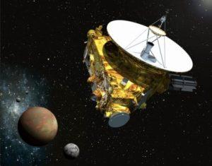 """הגשושית מרחפת מעל פלוטו וירחו הגדול כרון. איור אמן: נאס""""א"""