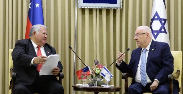 """ראש ממשלת סמואה לנשיא המדינה: """"אני מצפה לקשרים הדוקים יותר בינינו לבין ישראל"""""""