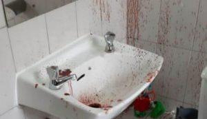 אחת מזירות התקיפה המגואלות בדם