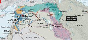 מתווה אפשרי למסדרון יבשתי חוצה אירן עירק וסוריה