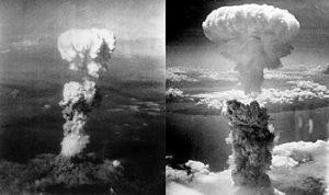 פטרייה אטומית שנוצרה מעל העיר נגסאקי (מימין) ומעל העיר הירושימה (משמאל) זמן קצר לאחר הטלת פצצת האטום עליהן
