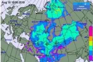 קרדיט למפות לארגון העוקב אחרי התפשטות חלקי גרעין באוויר CTBT