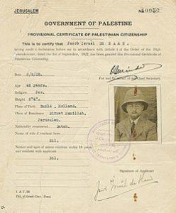 תעודת אזרחות זמנית של דה האן משנת 1922