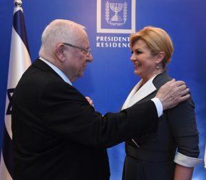 """נשיא המדינה ונשיאת קרואטיה. צילום   מארק ניימן/לע""""מ"""