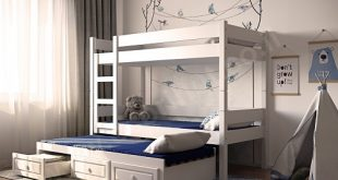מיטת-קומותיים-עץ-מלא-עם-מיטה-שלישית-ומגירות-דגם-k-33l